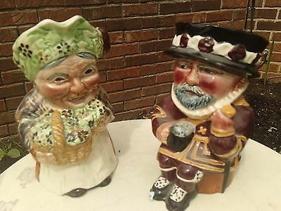 2  Original Staffordshire England Shorter Toby's-Flower Seller And Beeeater