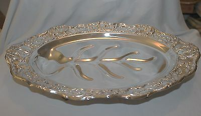 Grand Victorian by Wallace 1659 Silverplate Footed Meat Tray with Drip Well