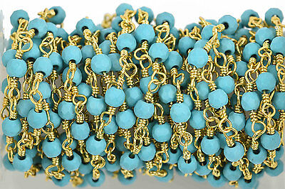 1yd TURQ BLUE Crystal Rosary Bead Chain, gold dbl wrap, 4mm round fch0587a