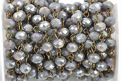 1yd HEATHER GREY AB Crystal Rosary Bead Chain, bronze, 8mm rondelle fch0593a
