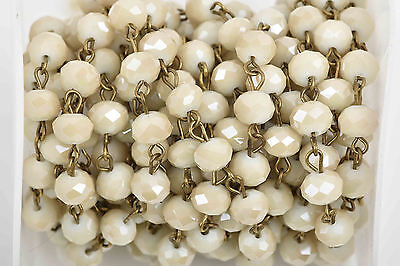 3ft IVORY Crystal Rondelle Rosary Bead Chain, bronze, 8mm rondelle fch0586a