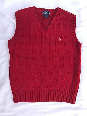 Polo By Ralph Lauren Boys Size Small Knit Red Vest Dressy EUC