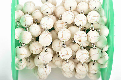 10ft WHITE Howlite Rosary Bead Chain, silver, 12mm round stone beads fch0605b