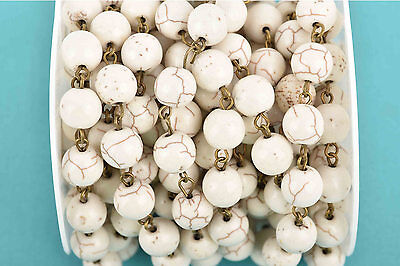 3ft WHITE Howlite Rosary Bead Chain, bronze, 10mm round stone fch0604a