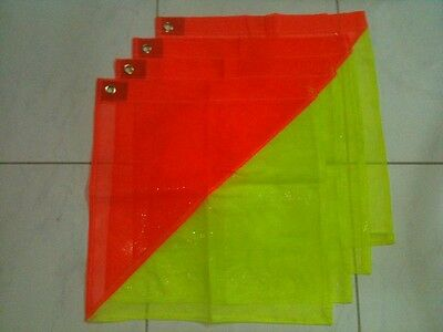 Safety Flags 4 Pack, Hi Vis Fluro Yellow/Orange for transporting oversize loads