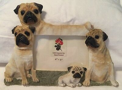 """Pug Dog Family Photo Frame Holds 4"""" x 6"""" Picture NEW"""