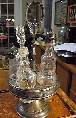 VINTAGE  Silver Plated Cruet Condiment Holder 5 Set  Etched 3 Glass Jars Bottles