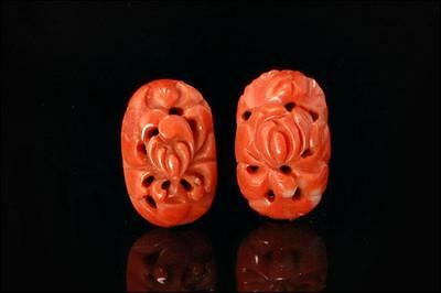 2 Antique Chinese Carved Salmon Coral Ornament For Earrings (100816049)