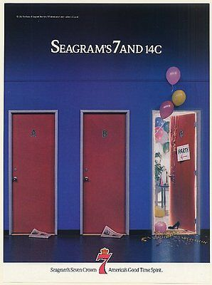 1988 Seagram's 7 and 14C Party Seven Crown Whiskey Print Ad