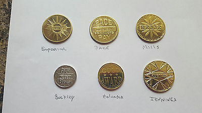 6 Assorted Mills, Pace, Jennings Gold Award Tokens for an Antique Slot Machine