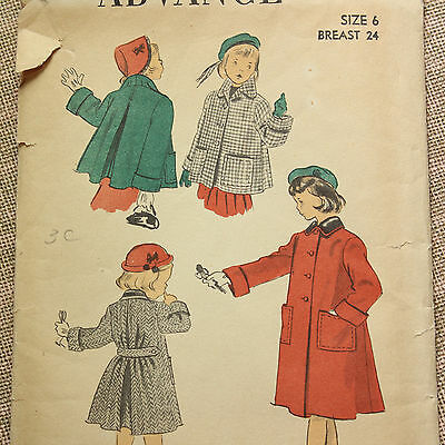 """vintage 1940s sewing pattern girls coat size 6 24"""" chest Advance 5594"""