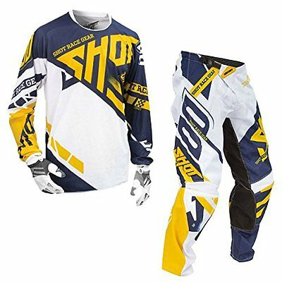 Shot Race Gear-Contact Raceway Yellow & Blue Jersey/Pant Combo-Size X-LARGE/34W