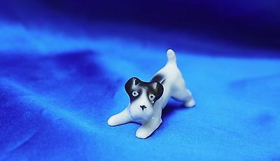 Vintage porcelain Smooth Fox terrier Rascal dog Jack Russell in play bow!! CUTE!