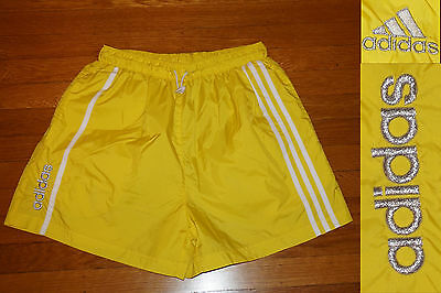 Vintage ADIDAS 3 Stripe NYLON Track Shorts Bright Yellow SILVER METALLIC LOGOS