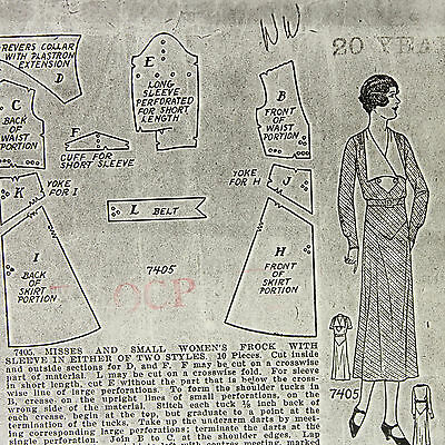 VTG 1920s 1930s sewing pattern womans house dress 2 patterns, TWO SIZES 20 & 38