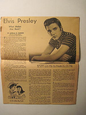 """ELVIS PRESLEY: 1956 """"What Makes Him Rock?""""- Newspaper Clipping. *VERY RARE ! !"""