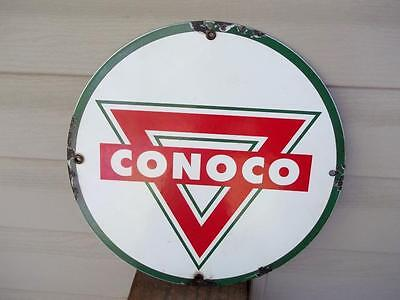 Conoco Porcelain Sign Oil Gas Station Pump Plate Gasoline Advertising Store Sign