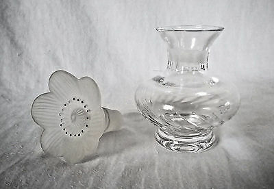 Circa 1920's Art Deco Clear Glass Perfume Bottle & Frosted Glass Flower Stopper