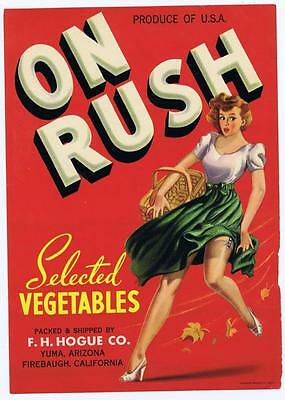 On Rush, vintage vegetable crate label, F H Hogue co, Yuma Arizona, lady in wind
