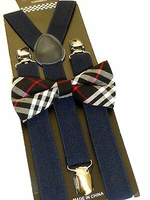 New Navy Blue Bow Tie and Matching Suspender set Tuxedo Formal Men's USA SELLER