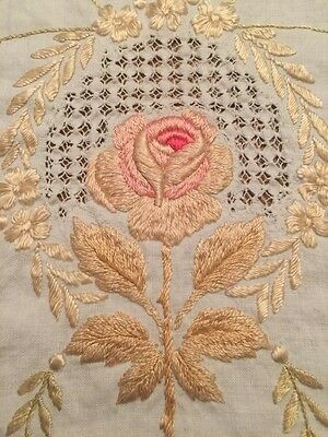 Antique Society Silk Art Embroider Linen Banquet Tablecloth Lattice Hem Stitched