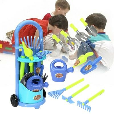 Kids Childrens Gardening Planting Trolley Toy Set With Tools Outdoor Garden Game
