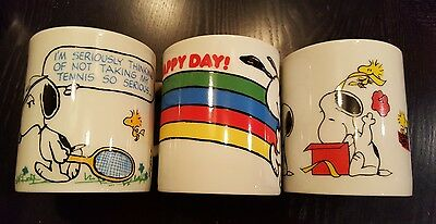 (3)Vintage Peanuts Snoopy Woodstock Coffee Tea Cup Mug 1958 1965 United Features