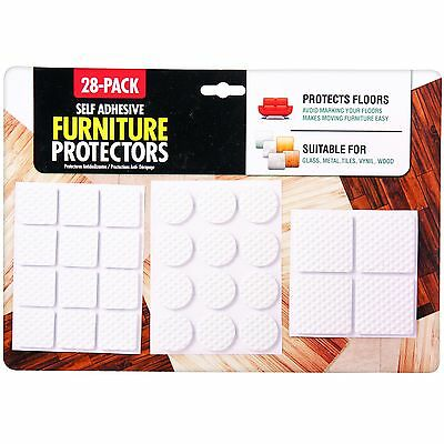 28 x Self Adhesive Furniture Floor Skid Protectors Protection Wood Pads Scratch