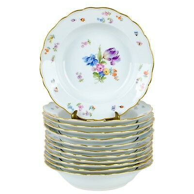 """12 Meissen Soup Bowls Flowers and Insects """"Neuer Ausschnitt"""" with Gold Rim"""