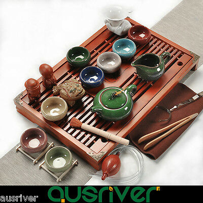 Tradition Chinese Tea Set Solid Clay Porcelain Wood Kungfu Tea Multicolor
