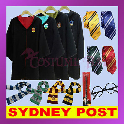 Adult Kids Harry Potter Gryffindor Slytherin Costume Robe Cloak Scarf Tie Wand
