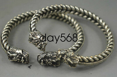 Pair of Collection Handwork Old Tibet Silver Dragon Auspicious Bracelet LJW408