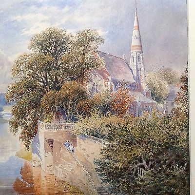 Original Watercolour.Finely painted. Church in river landscape.19/20th Century