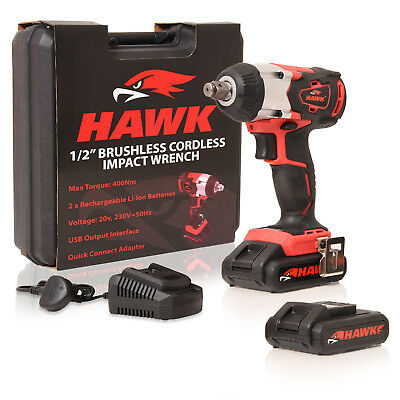 "Hawk 1/2"" 20V 2 X Li-Ion Cordless Brushless Rattle Impact Socket Nut Gun Wrench"