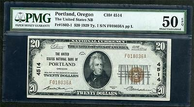 1929 Portland Or $20.00 T1 Charter 4514 And S/n F018036A Please Lqqk!!!