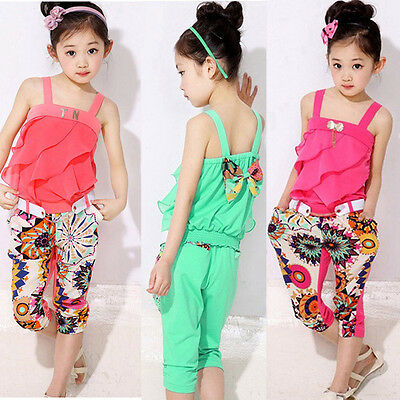 Summer Kids Toddler Baby Girl Shirt Tops+Sunflower Pants Outfit Clothes 2PCS Set