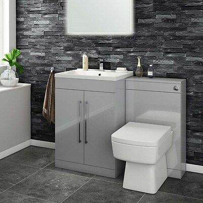 Back to Wall Toilet WC Unit Luxury Grey Wood Vanity Furniture Concealed Cistern