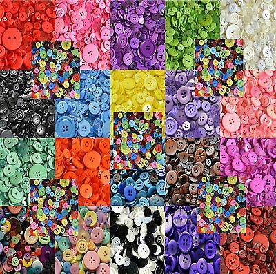 50g Pack Plastic Buttons - Assorted Mixed Buttons - 20 Colours To Choose From
