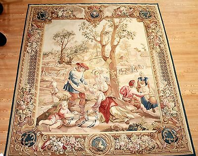 """French Aubusson Tapestry 6'9"""" x 8' VINTAGE WALL HANGING HAND WOVEN 20TH CENTURY"""