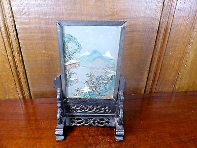 ORIENTAL VINTAGE small HAND PAINTED SCREEN on CARVED WOODEN STAND - a.f. - 18cms