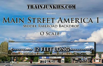 "TrainJunkies O Scale ""Main Street America 1"" Backdrop 144x24"" C-10 Brand New"
