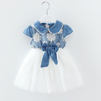Toddler Newborn Baby Girls Lace Denim Tulle Princess Dress Party Ball Tutu Dress
