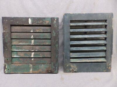 Two Small Antique Window Wood Louvered Shutters Vtg 453-17R