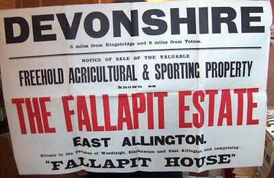 Fallapit Estate Auction Poster. East Allington nr Totnes. 1925.