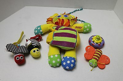"Lot of 5 SASSY Crib Toys Including Pull Down Musical 13"" Taggies LION"