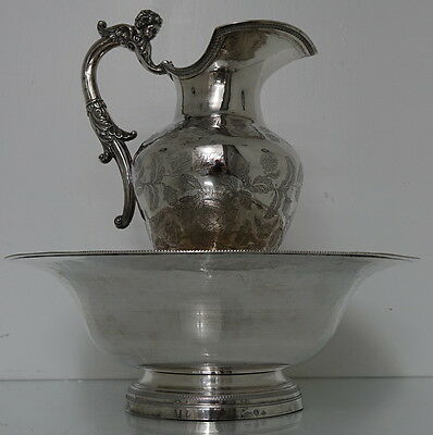 Early 19th Century Silver Spanish Ewer & Basin circa 1830