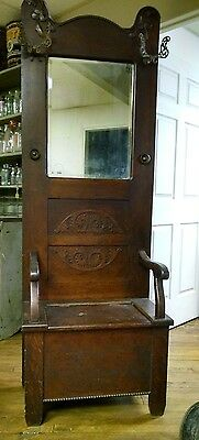 Antique Oak Hall Tree With Ornate Design and Hooks
