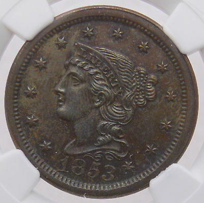 1853 Braided Hair Large Cent 1C NGC UNC Details Improperly Cleaned (#3428)