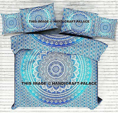 Blue Ombre Mandala Duvet Doona Cover Indian Quilt Cover With Cushion & Pillows