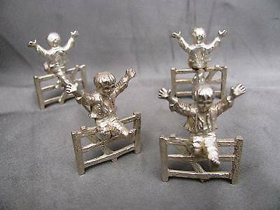 Victorian Silver Plated Novelty Knife Rests. Boys on Gates.